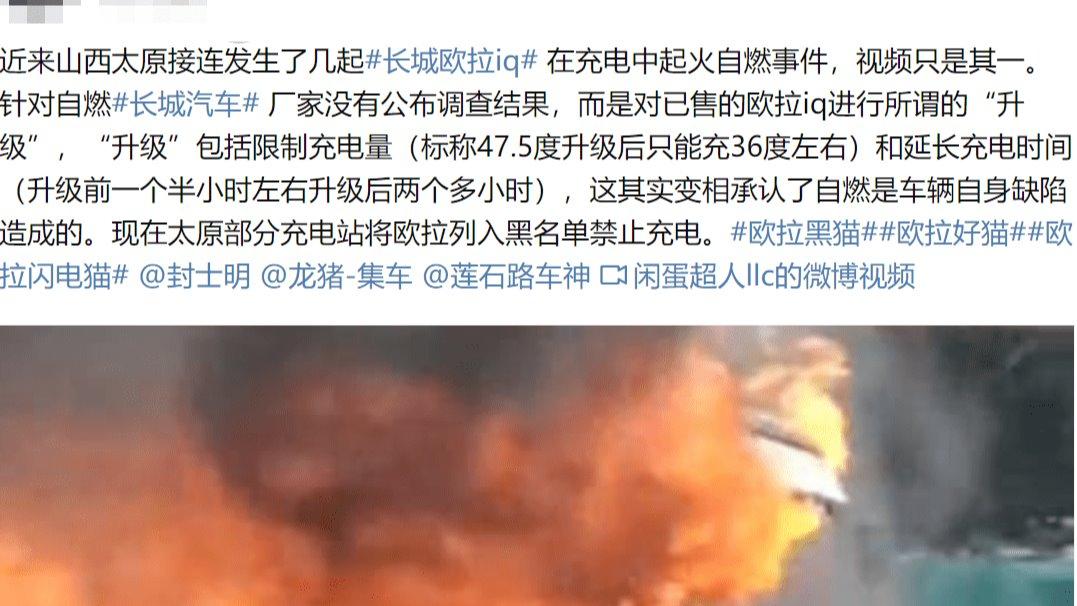 长城欧拉iQ自燃续:部分充电站将其列入黑名单 解禁之日需等升级